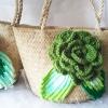 กระเป๋ากระจูดสาน ประดับกุหลาบสีเขียวขี้ม้า ขนาด 7*7 นิ้ว basket weave bags