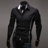 เสื้อเชิ้ตผู้ชาย แขนยาว เสื้อเชิ้ต ใส่ทำงาน ใส่เที่ยว สีดำ แบบ สลิมฟิต สำหรับผู้ชายหุ่นดี แต่งเส้นขอบ เสื้อคอปก แบบเท่ ๆ 206200