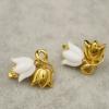 ต่างหูดอกทิวลิปสีขาวสลับทอง