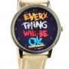 นาฬิกาข้อมือ สไตล์ วัยรุ่น ผู้หญิง ผู้ชาย ใส่ได้ หน้าปัดข้อความให้กำลังใจ everything will be ok ของขวัญยอดนิยม สีครีม no 526000_1