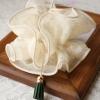 โดนัทรัดผมสไตล์ญี่ปุ่นผ้าชีฟองระบายสีขาวลูกไม้แต่งพู่