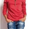 เสื้อยืดผู้หญิง แขนยาว สีแดงอมส้ม เสื้อยืดแฟชั่น ผู้หญิง คอซิป แต่งพู่ ตรงไหล่ แขนจั้ม แฟชั่น ดีไซน์ จาก ยุโรป 5008465