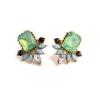 พร้อมส่ง2 ต่างหู light Green diamondพลอยสีเขียวอ่อนล้อมด้วยเพชรชิ้นเล็ก