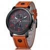 นาฬิกาข้อมือ ผู้ชาย สายหนังแท้ แนว Sport ดีไซน์ เท่ สายสีน้ำตาล ตัดกับ หน้าปัดสีแดง นาฬิกาสายหนัง แบบหรู ผสมสปอร์ต อย่างลงตัว 30083