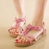 รองเท้าส้นแบน รองเท้าแฟชั่น ผู้หญิง รองเท้าหนัง แบบรัดส้น ดีไซน์เปิดหน้าเท้า สีชมพู ลายดอกไม้ หวาน ๆ รองเท้าแตะ แฟชั่น ดีไซน์ 625129