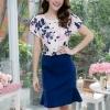 เดรสผ้าเกาหลีลายดอก + กระโปรงฮานาโก๊ะ ซิปซ้อนด้านหลัง(ซับในไฮเกรดทั้งชุด)