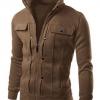 เสื้อ แจ็คเก็ต ผู้ชาย เสื้อแขนยาว เสื้อคลุม สีน้ำตาล ดีไซน์ ตีเส้นคู่ ด้านหน้ากลัง กระดุมหลอก มีกระเป๋า บนหน้า 2 ข้าง เสื้อ Jacket ซิปหน้า 833858_4