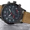 นาฬิกาข้อมือ ผู้ชาย สายหนังแท้ สีน้ำตาล แนว Sport กันน้ำได้ ดีไซน์ ปุ่มด้านข้างใหญ่ ตกแต่งหน้าจอสีดำ สลับตัวเลขสีขาว คลาสสิค สุด ๆ 222191