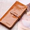 กระเป๋าสตางค์หนังแท้ กระเป๋าสตางค์ผู้หญิง ใบยาว หนังมันเงา สวย จุบัตรได้เยอะ เสริมความจุด้วย กระเป๋าใส่บัตร ถอดเข้าออกได้ สีน้ำตาล no 606452