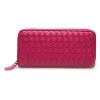 กระเป๋าสตางค์ LBB สีชมพูบานเย็น หนังถัก ขนาดยาว