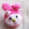 กระเป๋าใส่เหรียญมายเมโลดี้ถักโครเชต์ mymelodyamigurumi crochet bag