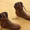 รองเท้าบูทผู้หญิง หนังแท้ รองเท้ามาตินบูท ส้นแบน สีพื้น สไตล์ สาวคาวบอย เท่ ๆ สีกะปิ หายาก รองเท้าผ้าใบแบบหุ้มข้อสูง 399771_3