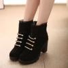 รองเท้าบูทผู้หญิง แบบมีส้น รองเท้าบูทส้นสูง แต่งขอบลูกไม้ สาวหวานปนเท่ รองเท้าบูท แฟชั่นลูกไม้ สวย ๆ 845367