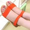 รองเท้าส้นแบน รองเท้าแฟชั่น ผู้หญิง รองเท้าแตะ ส้นเตี้ย แบบมีสายรัดส้น สีส้ม จี๊ด ๆ ใส่เที่ยว รองเท้าแบบเปิดหน้าเท้า สวย ๆ 780853_2