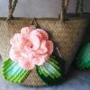 กระเป๋ากระจูดสาน ประดับกุหลาบสีโอรส ขนาด 7*7 นิ้ว basket weave bags