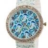 นาฬิกาข้อมือผู้หญิง นาฬิกาแฟชั่น สำหรับคนชอบสะสม นาฬิกาข้อมือ สาย Silicone อย่างดี หน้าปัด ล้อมเพชร คริสตัล สีฟ้า ลายน้ำ 829094