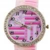 นาฬิกาข้อมือผู้หญิง นาฬิกาแฟชั่น สำหรับคนชอบสะสม นาฬิกาข้อมือ สาย Silicone อย่างดี หน้าปัด ล้อมเพชร คริสตัล สีชมพู ลายดอกไม้ หวาน 829094_4