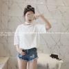 เสื้อแฟชั่น สีขาว แต่งสายรัดคอ สไตล์เกาหลี เก๋ๆ พร้อมส่งน้า สำเนา