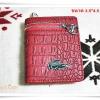 กระเป๋าสตางค์ lc ใบสั้น สีแดง ลายหนังจรเข้ M103