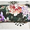 ผ้าห่มสำลี เนื้อนุ่ม ลายดอกไม้ สีเขียวแก่ ขนาด 5 ฟุต