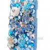 เคสโทรศัพท์ เคส Samsung Galaxy Note 2 N7100 เคสคริสตัล สีฟ้า ใส สวยสุด ๆ หรูหรา ติด คริสตัล ผีเสื้อ พร้อม ดอกกุหลาบ แสนสวย 904106