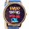 นาฬิกาข้อมือ สไตล์ วัยรุ่น ผู้หญิง ผู้ชาย ใส่ได้ หน้าปัดข้อความให้กำลังใจ everything will be ok ของขวัญยอดนิยม สียีนส์ ฟ้าเข้ม no 526000_2