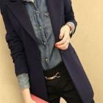 เสื้อสูท เสื้อแจ็คเก็ต ผู้หญิง สไตล์ สูท แขนยาว คอปก สีพื้น เสื้อคลุมแบบสูท ตัวยาว สำหรับ สาวทำงาน ออฟฟิต สีน้ำเงินกรมท่า 528189_2