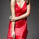ชุดนอนผู้หญิง ชุดนอนผ้าซาติน ผ้าไหม ผ้าลื่น สายเดี่ยว พริ้ว ใส่สบาย Sexy เล็กน้อย สีแดง 24089_2