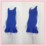 **สินค้าหมด dress2126 เดรสแฟชั่นงานแพลตตินั่ม ผ้ายืดเนื้อดี คอปักมุก แขนกุด ชายระบาย สีน้ำเงิน