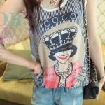 เสื้อแฟชั่นผู้หญิง แขนกุด ผ้าชีฟอง ลาย มงกุฏ no 53255_2