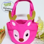 Bath & Body Works / Pink Reindeer Small Tote Canvas Bag