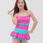ชุดว่ายน้ำวันพีช สายคล้องคอ ดีไซน์ มีระบาย กระโปรง น่ารัก ไล่โทนสี สลับอ่อน และ เข้ม สีชมพู ชุดว่ายน้ำ น่ารัก สไตล์ สาวเกาหลี 951994_2