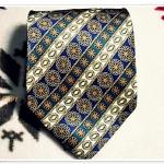 เนคไท สำหรับผู้ชาย สีน้ำเงิน ทอง N017