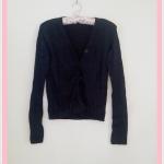 **สินค้าหมด Sale!! blouse1711 เสื้อคลุมแฟชั่นผ้ายืด แขนยาว กระดุมหน้า สีดำ