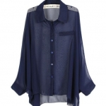 เสื้อเชิ้ต ผ้าชีฟอง แขนยาว สีพื้น สีกรมท่า no 68648