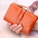 กระเป๋าสตางค์ผู้หญิง ใบสั้น กระเป๋าสตางค์ หนังวัวแท้ ลง Oil wax ใช้ยิ่งนาน ยิ่งสวย มีช่องใส่บัตร มีช่องใส่เหรียญ สีส้มสด สไตล์วินเทจ 764078_6