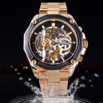 นาฬิกาข้อมือ โชว์กลไก Mechanical watch สาย Stainless หน้าปัดสีดำ สลับทอง สายสีเงิน สีทอง สุดหรู 188020