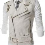 เสื้อ Jacket หนัง ผู้ชาย แจ็คเก็ตหนังแขนสั้น แบบเสื้อกั๊ก ดีไซน์ ตกแต่ง ซิป ด้านหน้า แบบเท่ ๆ สไตล์ อเมริกัน สีขาว no 78133_2