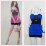 **สินค้าหมด Sale!! dress1873 เดรสแฟชั่น เสื้อสายเดี่ยวสีดำ ตัดต่อกระโปรงชีฟองระบายชั้น สีน้ำเงิน