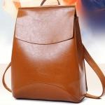 กระเป๋าเป้ กระเป๋าสะพายหลัง แบบหนังทั้งใบ สีเรียบ สีพื้น น้ำตาล แดง ดำ กระเป๋าเป้ สะพายหลังแบบผู้หญิง มีสไตล์ ใส่หนังสือเรียน มหาลัย เก๋ ๆ 193937