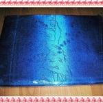 ผ้าแพร สีน้ำเงิน ลายนกยูง
