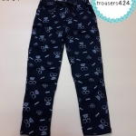 trousers424 กางเกงขายาวเอวยืด กระเป๋าข้าง ผ้าคอตตอนเนื้อนิ่มยืดได้ ลายเชอร์รี่สีดำ
