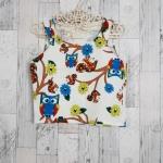 SALE!! blouse2602 เสื้อแขนกุดผ้าสกูบ้า(ผ้าเนื้อโฟม)เนื้อหนานุ่มลายนกฮูก โทนสีขาวครีม