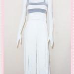 **สินค้าหมด set_bp538 ชุดเซ็ทผ้ายืดเนื้อดี(เสื้อ+กางเกง)แยกชิ้น เสื้อสั้นสายสปาเก็ตตี้ลายขวางขาวเทาอ่อน+กางเกงขายาวเอวยืดผ่าหน้าสีขาว