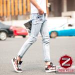 กางเกงยีนส์ผู้ชาย | ยีนส์แฟชั่นขายาว ลายขาดยาว5จุด แฟชั่นเกาหลี