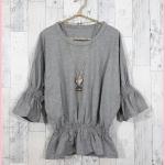 **สินค้าหมด blouse2621 เสื้อแฟชั่นไซส์ใหญ่เอวยืด แขนสามส่วนระบาย ผ้ายืดเนื้อหนา สีเทา