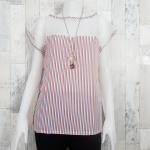 SALE!! blouse2158 เสื้อแฟชั่นไซส์ใหญ่ แขนในตัว อกซีทรู ผ้าชีฟองลายทางโทนสีขาวฟ้าแดง