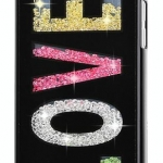 เคส iPhone 5c ประดับเม็ดคริสตัล ด้านใน คล้ายเม็ดทราย เคส แบบ เก๋ งาน Hand made ไม่ซ้ำใคร ลายอักษร LOVE สีดำ สีขาว no 98246_3