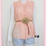 **สินค้าหมด blouse1809 เสื้อแฟชั่นไซส์ใหญ่ ผ้าชีฟอง คอจีน กระดุมหน้า แถมเข็มขัดหนังหัวดอกไม้ สีส้มโอลด์โรส รอบอก 46 นิ้ว ความยาว 25 นิ้ว