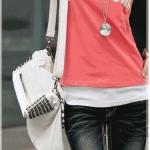 กระเป๋าถือผู้หญิง กระเป๋า สะพายข้าง หนัง Pu กันน้ำได้ ดีไซน์ เป็นแบบถุง สี่เหลี่ยม พับได้ แต่งหมุดเก๋ ๆ สีดำ และ สีขาว กระเป๋าถือ วัยรุ่นเท่ ๆ 927760